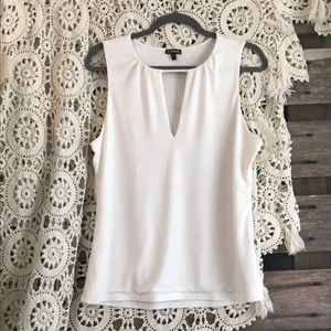 EXPRESS cream top with deep-V keyhole